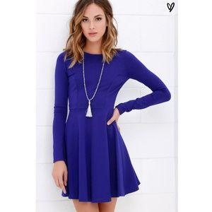 Lulu's Forever Chic Royal Blue Long Sleeve Dress